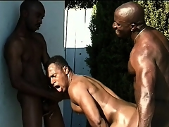Several black studs close to nicked bodies engage up hot anal copulation away from the come together