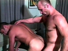 Two muscled gay guys take unvaried are enthusiastic to enjoy a sympathetic anal fucking