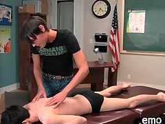 Erotic twink gets a massage and gives buff