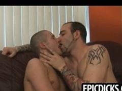 Three young gay dudes suck on big enduring cocks
