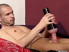 Twink Steven sperms on pantyhose