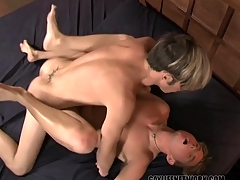 Team a few downcast shaved boys have hot anal coitus