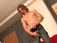 Stripping young guy with long teem is sexy