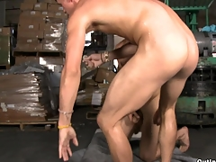 Teen and fresh-looking guy gets fucked elbow the warehouse beside his super mean asshole.
