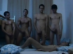 Hungarian young studs enjoy oneself a steamy gay orgy in the dorm room