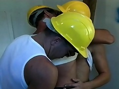 Two voluptuous workers are joined by a sexy cop for a hot gay threesome