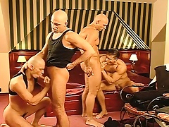 Business is done and get under one's fun begins with a lasting pounding gay foursome